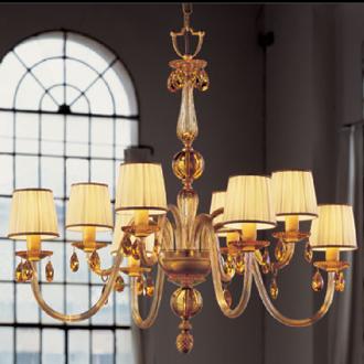 lampadari metallux : Lampadario a 8 luci con struttura in oro e vetri ambra arricchito con ...