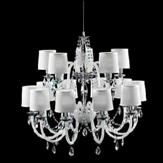 lampadari metallux : Lampadario a 10+5 luci con finitura cromo e bracci in cristallo bianco ...